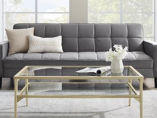 Silver Orchid 42 inch Metal and Glass Two Tier Coffee Table  Retail 215 99