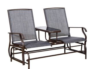 Outsunny Two Person Outdoor Mesh Fabric Patio Double Glider Chair with Center Table  Retail 149 99