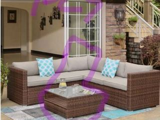 COSIEST 1 piece Outdoor Wicker Patio Sofa Set with Cushions  Retail 759 99