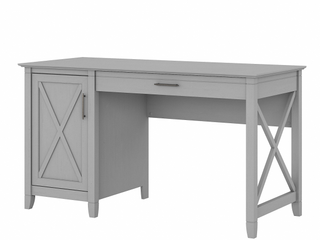 Bush Furniture Key West 54 W Computer Desk With Keyboard Tray And Storage  Cape Cod Gray  Standard Delivery