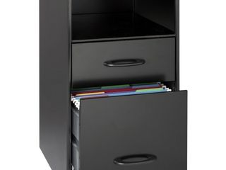 Space Solutions 18  Deep 2 drawer Metal File Cabinet with Shelf  Black  Retail 82 49
