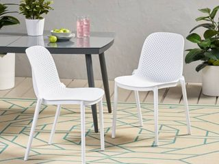 Ivy Outdoor Modern Stacking Dining Chair  Set of 2  by Christopher Knight Home   19 50  W x 21 50  l x 32 00  H  Retail 276 99