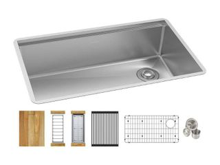 Elkay Crosstown Stainless Steel 31 1 2 in  Single Bowl Undermount Kitchen Sink Kit with Workstation  Silver