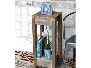 Natural Reclaimed Wood Accent Table  Retail 82 99
