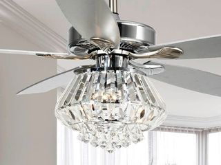 Modern 52  4 Blades Crystal Ceiling Fan with Remote Control   52 Inches  Retail 213 99
