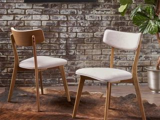 Chazz Mid century Dining Chair by Christopher Knight Home  Set of 2    light Beige   Natural Oak