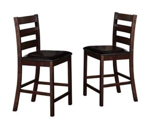 leatherette Wooden Counter Chair with ladder Back  Set of 2  Cherry Brown  Retail 305 99