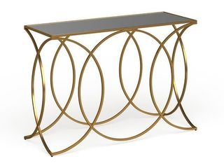 Milani Gold Geometric Console Table w  Mirrored Table Top  Retail 226 99