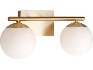 Farrell 2 light Soft Gold Bath Vanity light with Satin Opal Glass   Soft Gold  Retail 84 99