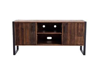 Ruffalo Urban Rustic Wood and Metal TV Media Console   60 x 18 x 28 inches  Retail 586 99