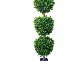 5 Foot Artificial Hedyotis Tree large Faux Potted Topiary Plant for Indoor or Outdoor Decoration by Pure Garden   Green  Retail 162 49