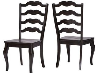 Weston Home Farmhouse Dining Chair with French ladder Back  Set of 2