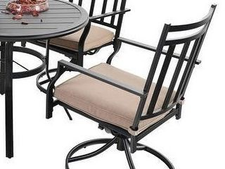 MFSTUDIO Patio Dining Chairs Patio Dining Swivel Chairs Support 300 lbs  Black   2 Piece Sets  Retail 759 99