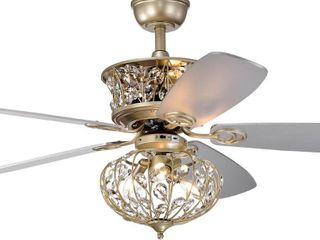 Champagne Silver 52 inch Ceiling Fan with Crystal Cage light Kit   Champagne Silver  Retail 302 49