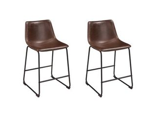 Centiar Upholstered Counter Height Barstool Brown Black   Signature Design by Ashley
