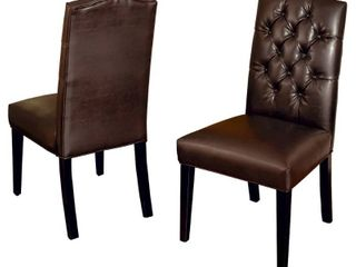 Crown Top Brown Bonded leather Dining Chair  Set of 2  by Christopher Knight Home  Retail 218 49
