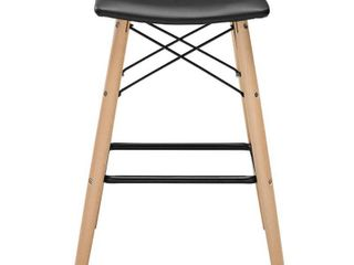 Walker Edison Modern Faux leather Counter Stool  Black