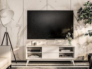 Boahaus Memphis TV Stand  White  04 Shelves  02 Drawers   59  Retail 176 99