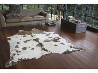 Real Cowhide Rug Grey and White   6  x 7  Retail 273 49