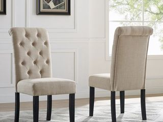 Roundhill leviton Solid Wood Tufted Asons Dining Chair  Set of 2  Tan
