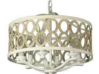 Cahua 8 light Drum Chandelier 16 inches Wide Steel Frame with Wooden Pattern  Retail 198 91