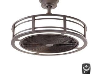 Home Decorators Collection Brette II 23 in  lED Indoor Outdoor Espresso Bronze Ceiling Fan with light and Remote Control