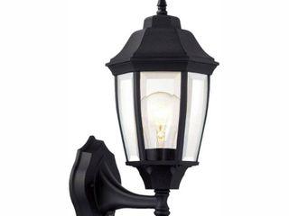 Hampton Bay 1 light Black Dusk to Dawn Outdoor Wall lantern Sconce
