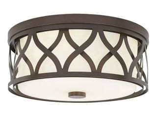 Home Decorators Collection 3 light Harvard Court Bronze Flush Mount with Etched White Glass