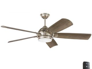 Home Decorators Collection Camrose 60 in  Integrated lED Brushed Nickel Ceiling Fan with light Kit and Remote with White Color Changing Technology