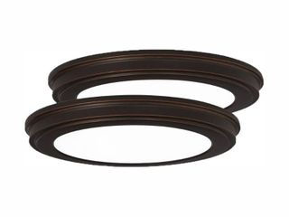 Commercial Electric 13 in  Oil Rubbed Bronze Color Changing lED Ceiling Flush Mount  2 Pack