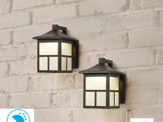 Hampton Bay Black Outdoor Integrated lED Wall lantern Sconce  2 Pack