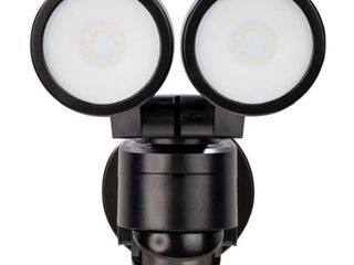Defiant 180A Black Motion Activated Outdoor Integrated lED Twin Head Flood light