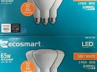 EcoSmart 65W Equivalent Soft White BR30 Dimmable lED light Bulb  6 Pack