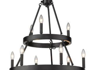 Golden lighting Alastair 9 light Matte Black Wagon Wheel Chandelier
