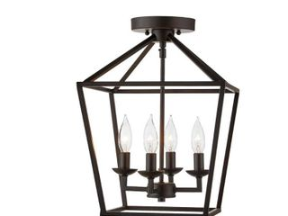 Home Decorators Collection Weyburn 16 5 in  4 light Bronze Semi Flush Mount