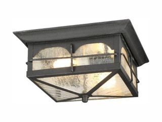 Home Decorators Collection Brimfield 2 light Aged Iron Outdoor Flushmount light