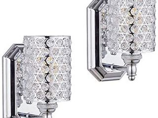 Doraimi 1 light Crystal Wall Sconce lighting with Chrome Finish Set of 2 Modern and Concise Wall light Fixture
