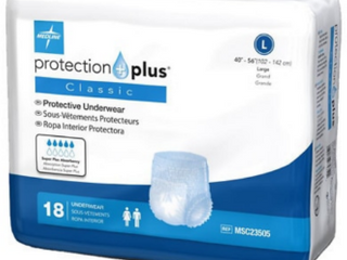 Medline Protection Plus Classic Protective Underwear  large  18 Count
