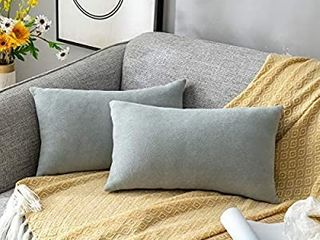 Stellhome Set of 2 Chenille Throw Pillow Covers Square Decorative Set Cushion Covers for Bed Couch Sofa Bench  12 x 20 inch