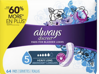 Always Discreet Incontinence Heavy Absorbency Pads for Women  long length  64 ct