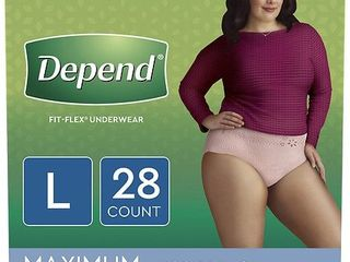 Depend Fit Flex Incontinence Underwear for Women  Maximum Absorbency  large  light Pink  28 Count