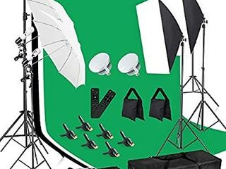 MOUNTDOG Photography lighting Kit 6 6X 10ft Backdrop Stand System and 900W 6400K lED Bulbs Softbox and Umbrellas Continuous lighting Kit for Photo Video Shooting