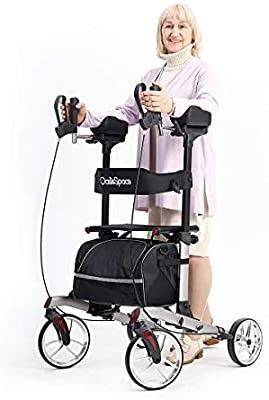 OasisSpace Rollator Walker  Tall Folding Rollator Walker with 10a Front Wheels Backrest Seat and Padded Armrests for Seniors and Adults Gray