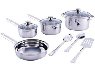 Mainstays Stainless Steel 10 Piece Cookware Set  with Kitchen Tools