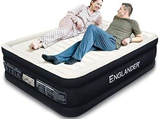 Englander First Ever Microfiber Queen Air Mattress  luxury Microfiber airbed with Built in Pump  Highest End Blow Up Bed  Inflatable Air Mattresses for Guests Home Travel