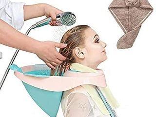 Shampoo Basin Portable Foldable Mobile Hair Wash Bowl Rinse Tray  with Drain Tube Designed for Pregnant Women The Elderly and Inconvenient People Gift for Towels Hooks Earplugs and Dry Hair Cap