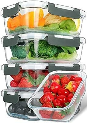 5 Packs  30 Oz  Glass Meal Prep Containers with Snap locking lids Glass Food Containers Airtight lunch Container Microwave  Oven  Freezer and Dishwasher