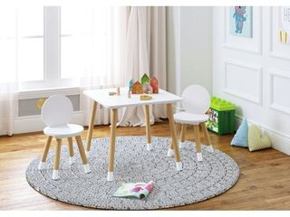 UTEX 2 in 1 Kids Table with 2 Chairs Set  White
