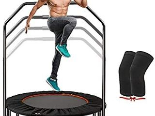 ClORIS 40  Mini Trampoline with Adjustable Foam Handle Fitness Rebounder Trampoline for Kids Adults Max load 400 lbs Indoor Trampoline Garden Workout  with Knee Pads