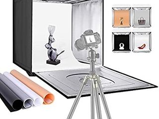 Neewer Photo Studio light Box 20 inches 50cm Shooting light Tent Adjustable Brightness Foldable Portable Professional Booth Table Top Photography lighting Kit 80 lED lights 4 Colors Backdrops